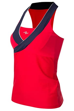 Naffta Tenis Padel - Camiseta Asas para Mujer, Color Rojo/Marino, Talla L: Amazon.es: Deportes y aire libre