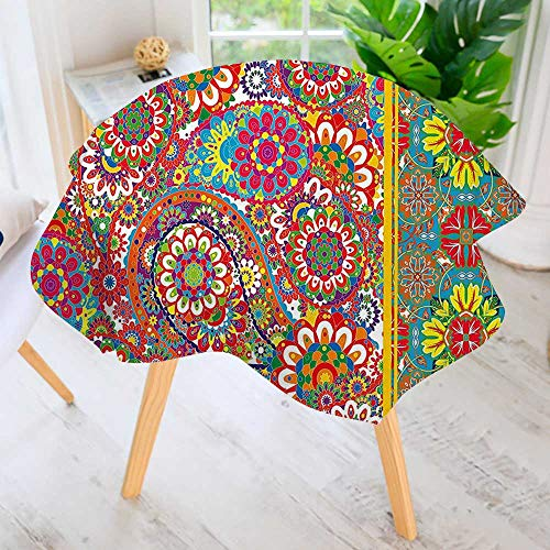 UHOO2018 Hand Screen Printed Tablecloth-Paisley Leaf Oriental Embellished Middle Eastern Traditional Boho Art Print Multicolor Modern Printed Spill Proof Cloth Round Tablecloths 35.5