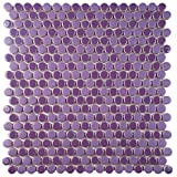 SomerTile FSHCOMPL Juno Penny Round Porcelain Floor and Wall Tile, 11.25'' x 11.75'', Purple/Lavender