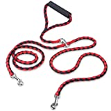 PETBABA Double Dog Leash, 4.6ft No Tangle Dual Rope Coupler, Heavy Duty 2 Way Lead Splitter with Soft Padded Handle, Walk Train Two Big Pet in Red