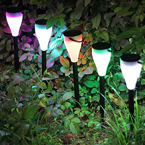 ruifengshun Solar Garden Lights, 5pcs Outdoor Waterproof Color Changing Cone Shaped LED Solar Light Garden Landscape Lawn Decoration - Shaped Led Cone
