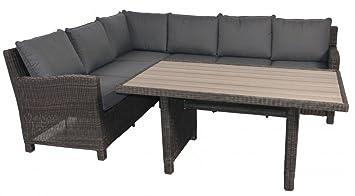 Amazon De Rattan Lounge Garnitur Eckbank Taupe Farben Mit Tisch