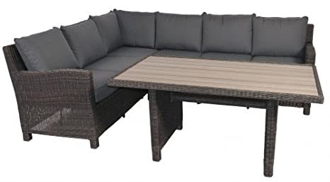 Rattan lounge set tavolo panca angolare tortora colori con polywood