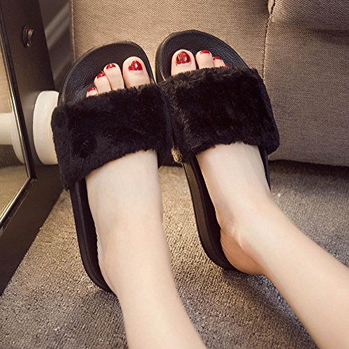 Pantofola Piatta Da Donna Inkach, Eleganti Scarpe Da Donna Infradito In Soffice Pelliccia Infradito Sandalo Da Donna Slip On Sliders Shoes Nero