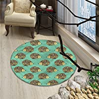 Hedgehog Round Area Rug Abstract Animal Design Cartoon Style Cute Creatures Funny Faces FriendlyOriental Floor and Carpets Sea Green Multicolor