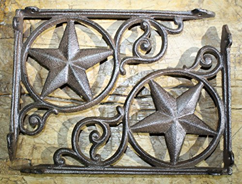 New 8 Cast Iron Antique Style Star Brackets, Garden Braces Shelf Bracket RUSTIC , Wall Brackets Shelf Support for Storage , Brown Cast Iron by OutletBestSelling by New