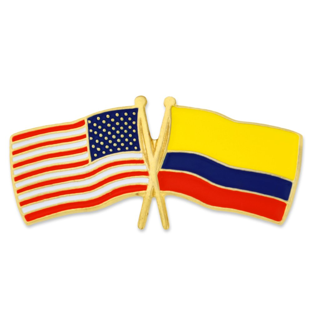 PinMart's USA and Colombia Crossed Friendship Flag Enamel Lapel Pin by PinMart