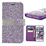 Iphone 7 Plus Wallet Case, 3D Bling Jelly Rhinestone PU Leather Wallet Flip Protective Skin Case with Magnetic Bling Button Card Slot Function for Apple Iphone 7 Plus 5.5 Inch (Purple)