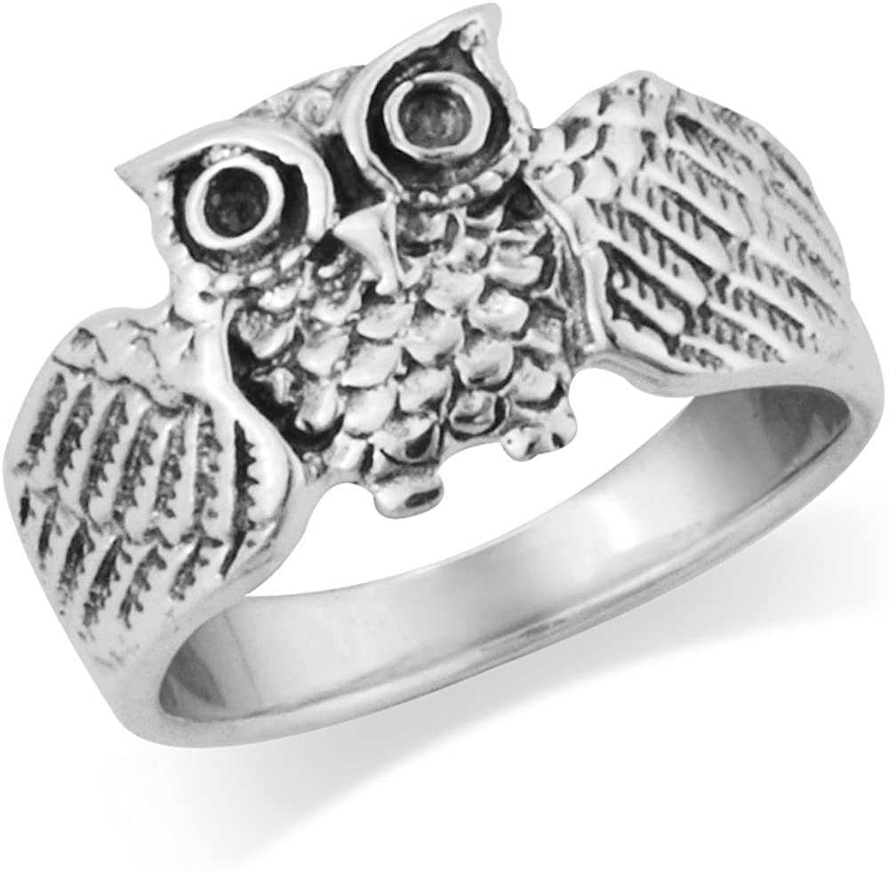 925 Sterling Silver Wise Owl Band Ring