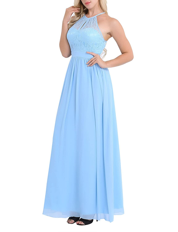 iiniim Womens Casual Floral Lace Halter Neck Sleeveless Vintage Wedding Maxi Dress