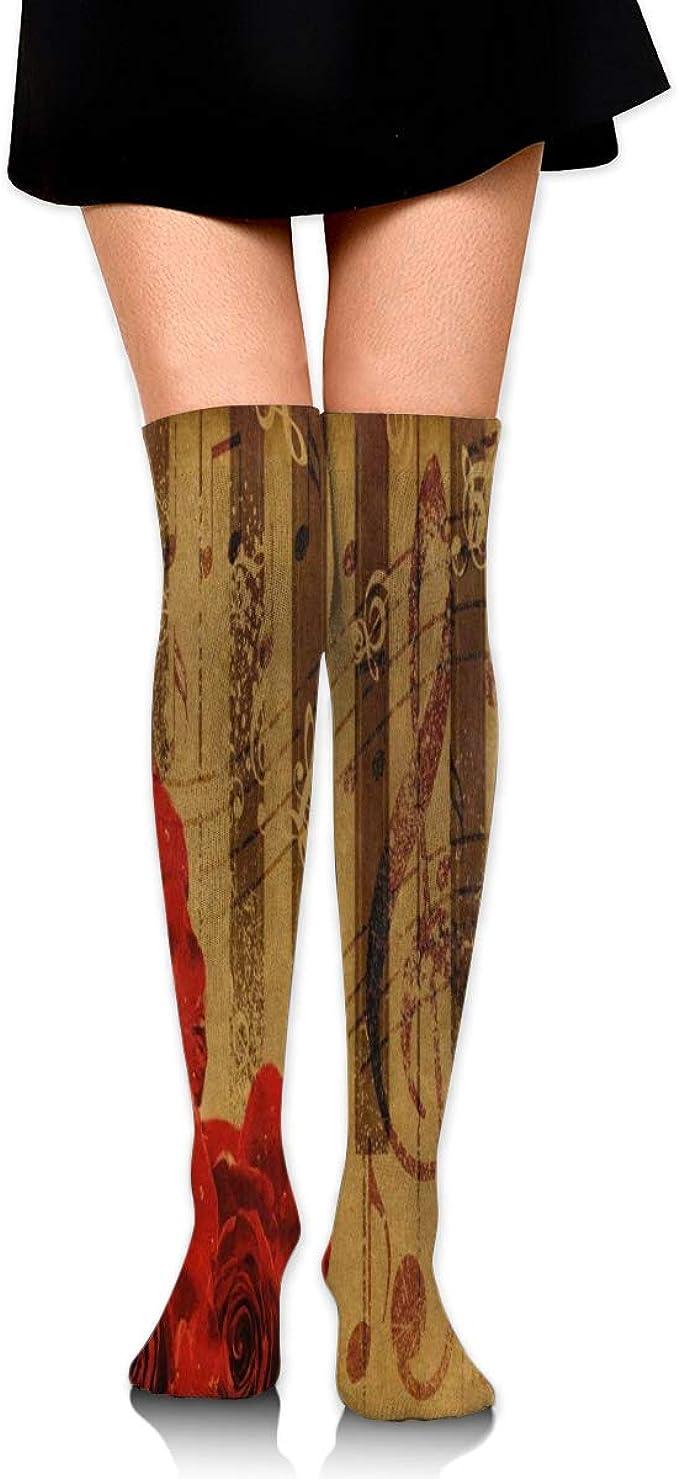 Music Note Womens Knee High Socks Winter Warm Boot Socks Tube Stockings