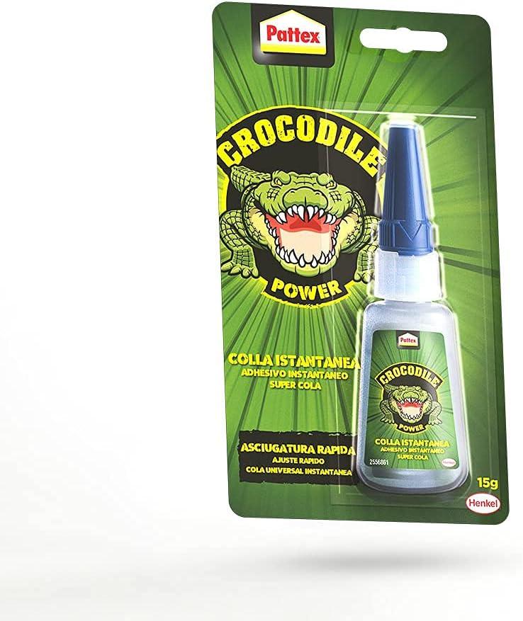 Pattex Crocodile Power Adhesivo Instantáneo, pegamento extrafuerte para reparaciones, cola instantánea para metal y más, cola transparente resistente al agua, 1x15g