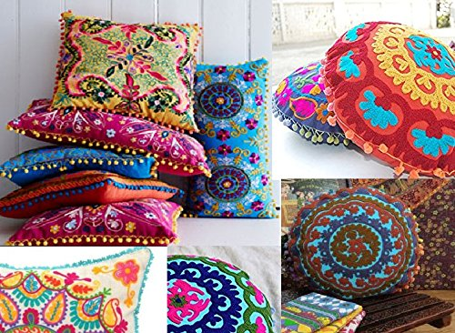 Maniona Crafts 10 Piece Lot Mandala Style Pouf Cushion Cover
