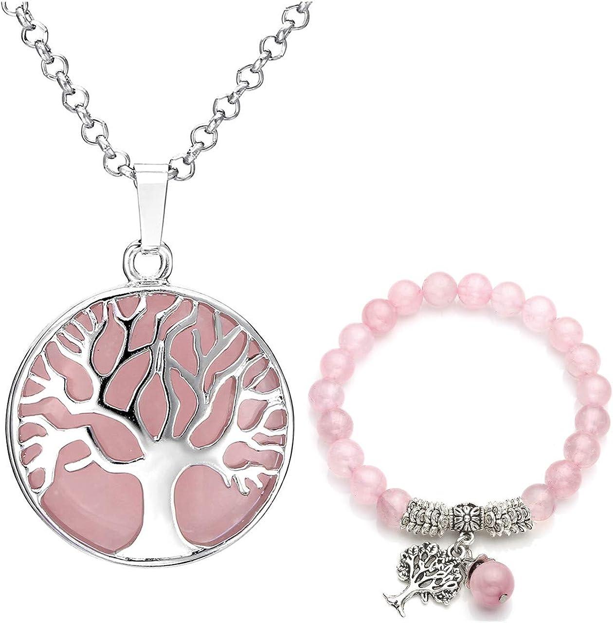 Jovivi - Juego de joyas de piedras preciosas para mujer, colgante de árbol de la vida de plata y piedra redonda,con cadena, y pulsera elástica de perlas de 8 mm