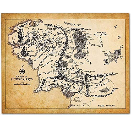 Map of Middle Earth - 11x14 Unframed Art Print - Makes a Great Gift Under $15 for Lord of the Ring and Hobbit Fans (The Hobbit Map)