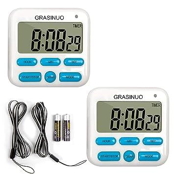 GRASINUO - Temporizador digital de cocina (2 unidades, función de memoria, reloj de