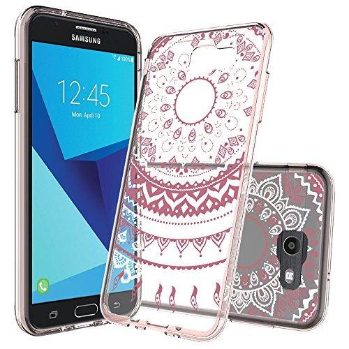 Samsung Galaxy J7 V / J7 Perx / J7 Prime / J7 Sky Pro / J7V Case Clear with Screen Protector,AnoKe Cute Girls Women Thin Slim Fit Mandala Flower Phone Cover Cases for Galaxy J7 2017 TM CH Rose Gold