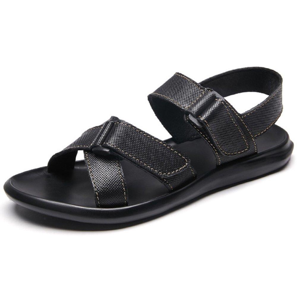 Herren LederSandalee Outdoor Wandern Hausschuhe Sommer Sport Flip-Flops Schuhe Offene Spitze Strand Flache Rutschfeste Freizeitschuhe