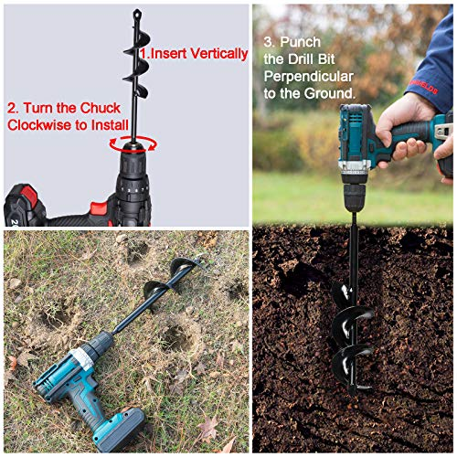 """KRAVELDS Triangle Tip 3""""x12"""" Solid Shaft Auger Drill Bit for Planting with Garden Genie Gloves Spiral Hole Drill Digger for most 3/8"""" Hex Drive Drill Soil Bulb Planter Flower Planter Umbrella Hole Digger"""