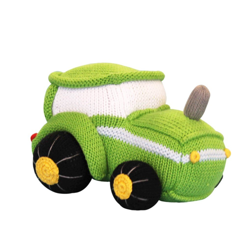 Zubels Baby Tobey The Tractor Hand-Knit Plush Rattle, All-Natural Fibers, Eco-Friendly, 100 Cotton