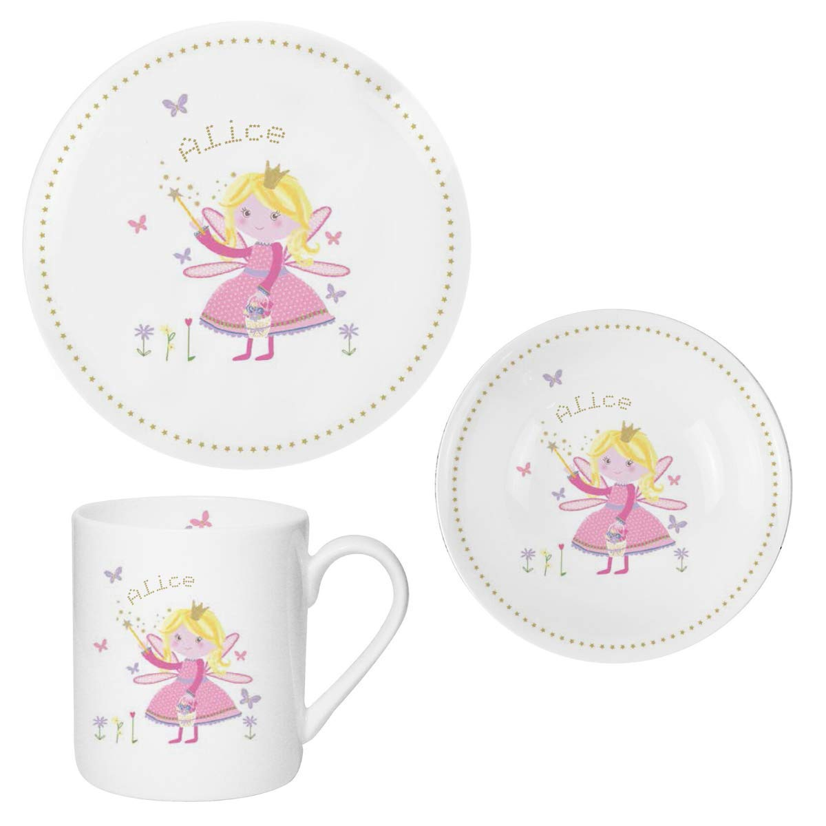 Kids Dinner Set Personalised Baby Gifts Girl Garden Fairy Design Customised Any Name