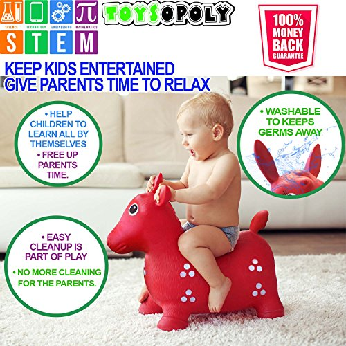 ToysOpoly Inflatable Bouncer Seat - Best for Physical Therapy, Increases Balance and Agility, Eco-Friendly + Free Foot Pump, Easy to Inflate (Blue-) by ToysOpoly (Image #5)