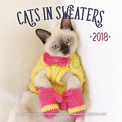 Gatos en suéteres 2018 calendario de pared