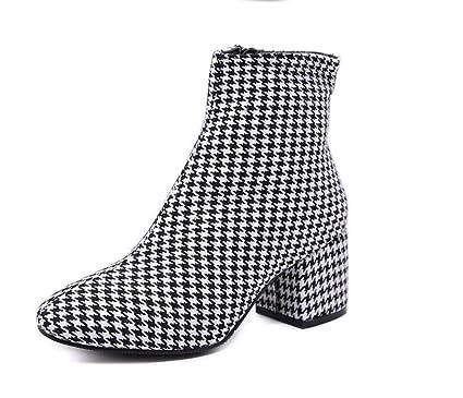 Mujer Botines De Tobillo 7Cm Grueso Talón Celosía Vestido Botas Casual Corte Zapatos Martin Boot UE