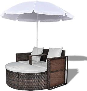 Sayagold Poly Rattan Outdoor Garden Lounge Set Patio Furniture Sofa with Parasol Brown