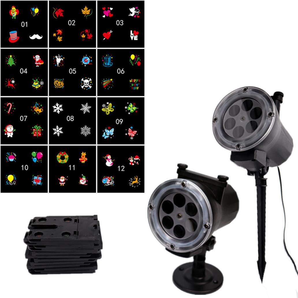 Nesee LED Projector Light 12 Halloween Christmas Decoration Celestial Star Cosmos Starry Sky Night Lights Projection Lamp (B)