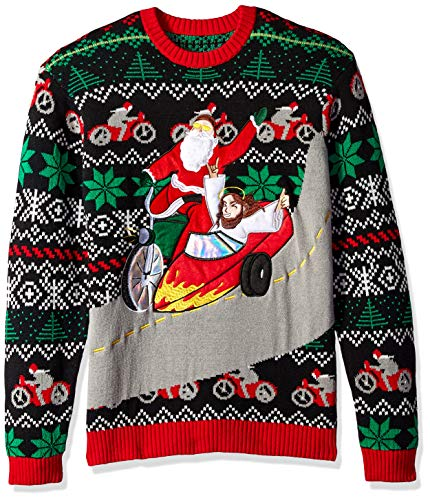 Santa & Jesus Motor Sidecar Ugly Christmas Sweater
