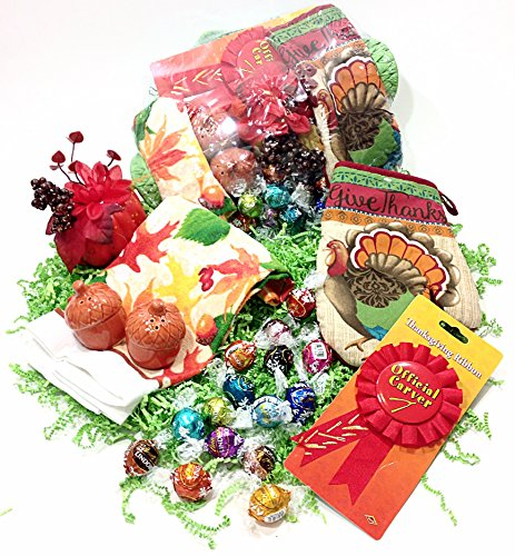 Thanksgiving Gift Basket - Lindt Lindor Gourmet Chocolate Truffles, Kitchen Towel, Potholder, Novelty Salt & Pepper Shakers & Pumpkin Floral Pick (A)