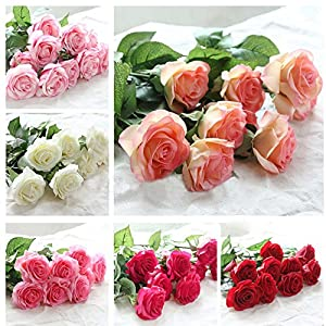 XGM GOU 20Pcs/Set Rose Flowers Bouquet Royal Rose Upscale Artificial Flowers Latex Real Touch Rose Flowers Home Wedding Decoration 46