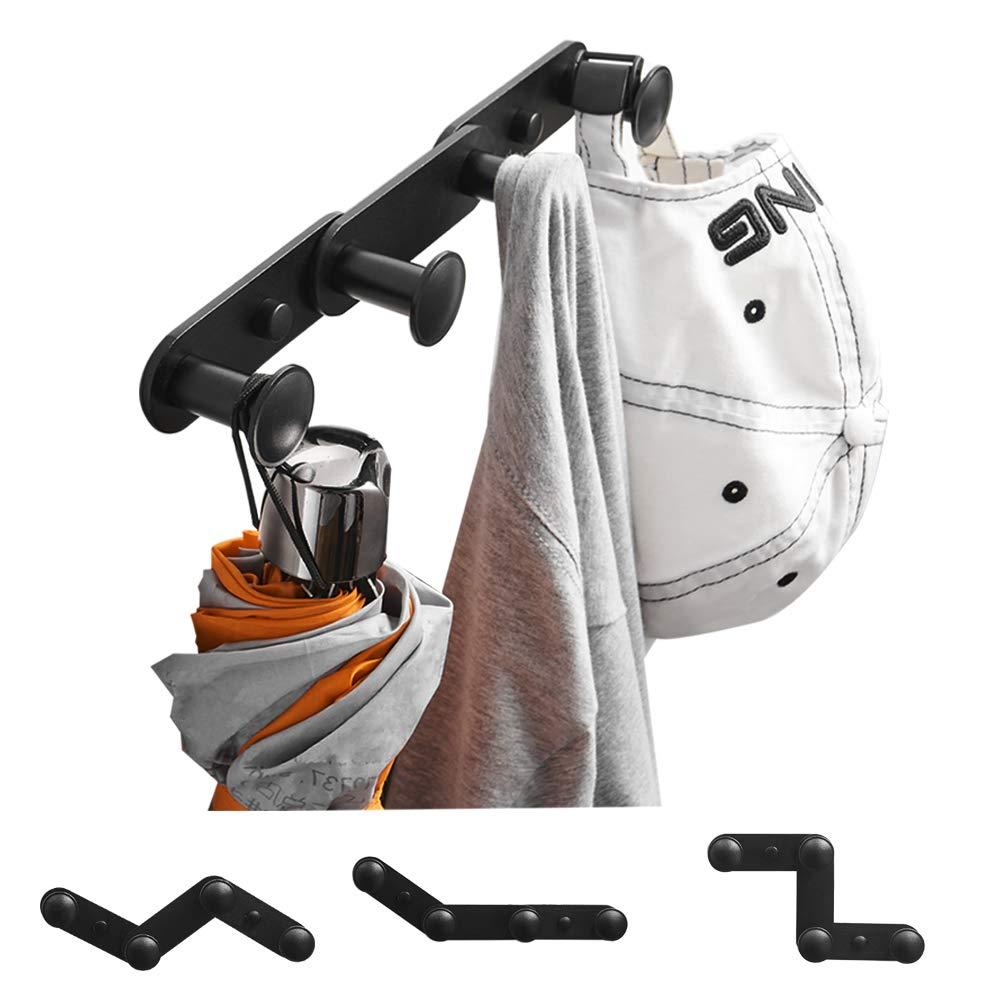 BESy Black Accordion Coat Rail Towel Hooks Robe Hooks Expandable Hat Cap Rail Rack Hanger, Shape Adjustable and Changable, Aluminum,Wall Mounted with Screws,Black Dull Polished Finish, 4 Hooks