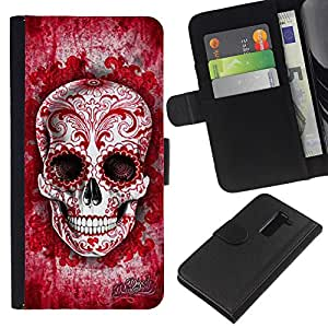 KingStore / Leather Etui en cuir / LG G2 D800 / Tinta Roja Sangre Amor floral del tatuaje del cráneo