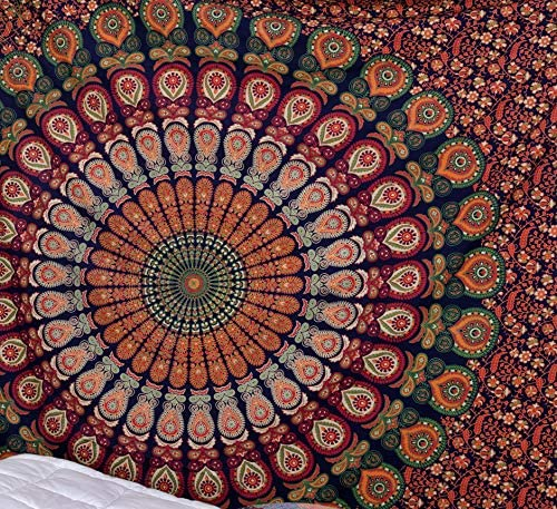 Popular Handicrafts Kp708 Hippie Mandala Bohemian Psychedelic Intricate Floral Design Indian Bedspread Magical Thinking Tapestry Blue King Size