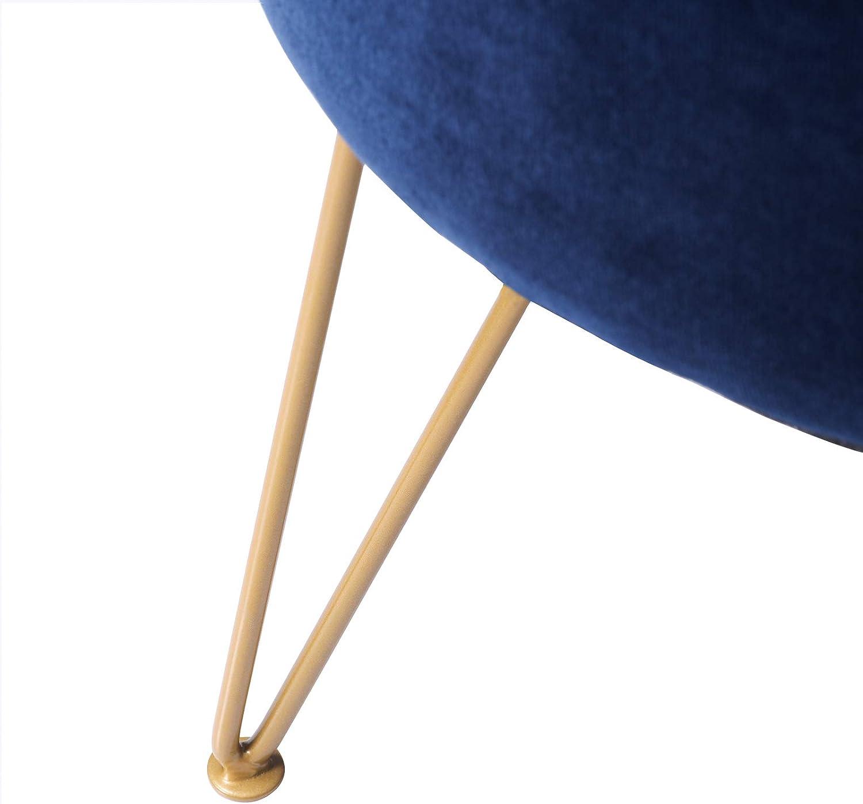 Blau LG-008 IBUYKE Fu/ßhocker Samt Runde Ottoman Pouffe Hocker Schminktisch Hocker Metallbeine f/ür Zuhause Wohnzimmer Umkleidekabine Schlafzimmer B/üro