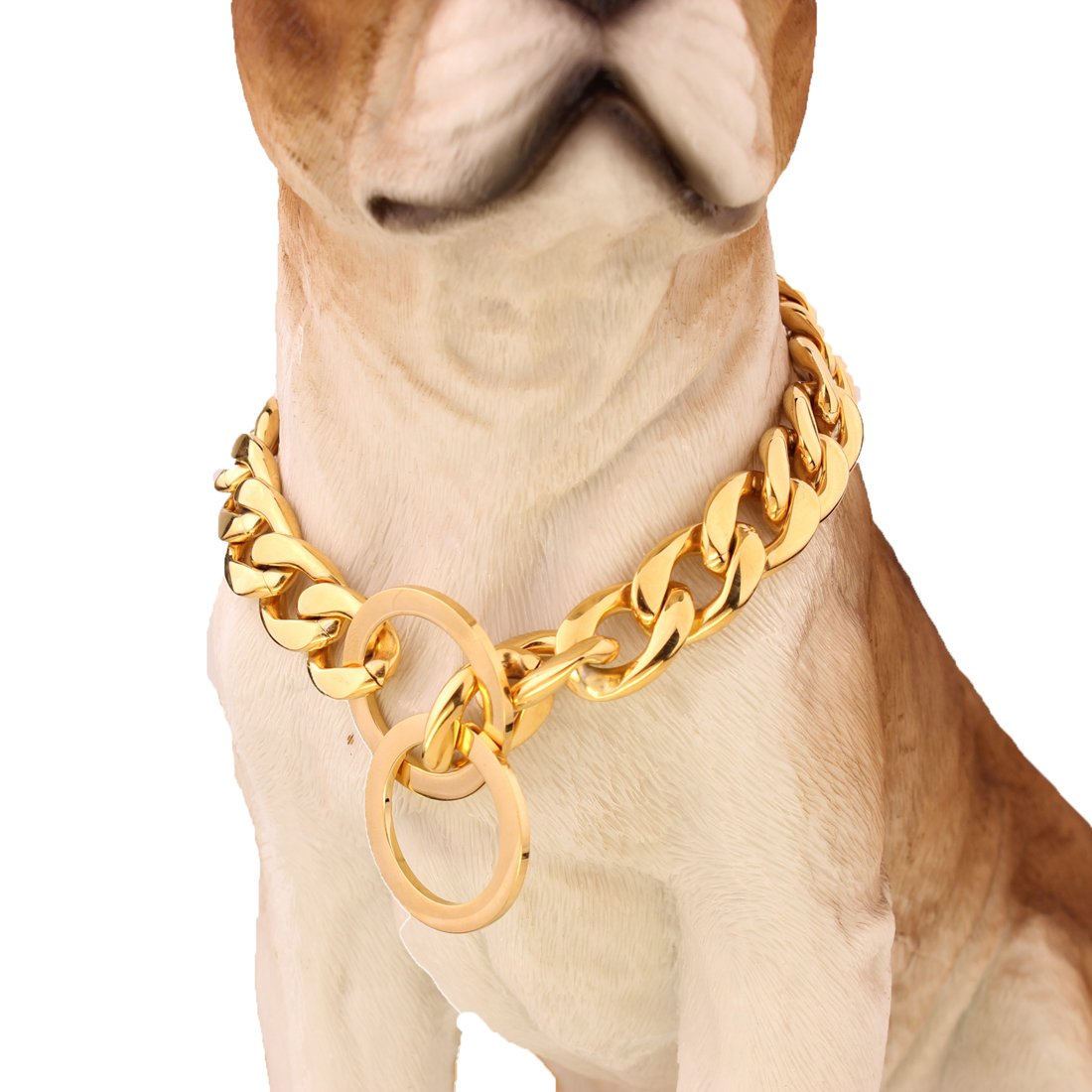 FANS JEWELRY Strong 13/15/19mm Gold Plated Stainless Steel NK Chain Dog Collar Choker Necklace 12-36inch(20inches,19mm) by FANS JEWELRY