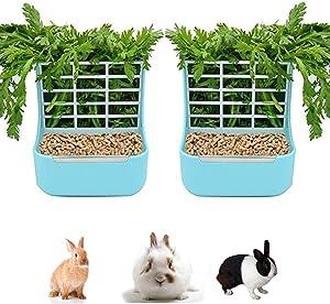 Rabbit Feeder Bunny Guinea Pig Hay Feeder,Hay Guinea Pig Hay Feeder,Chinchilla Plastic Food Bowl (Blue)