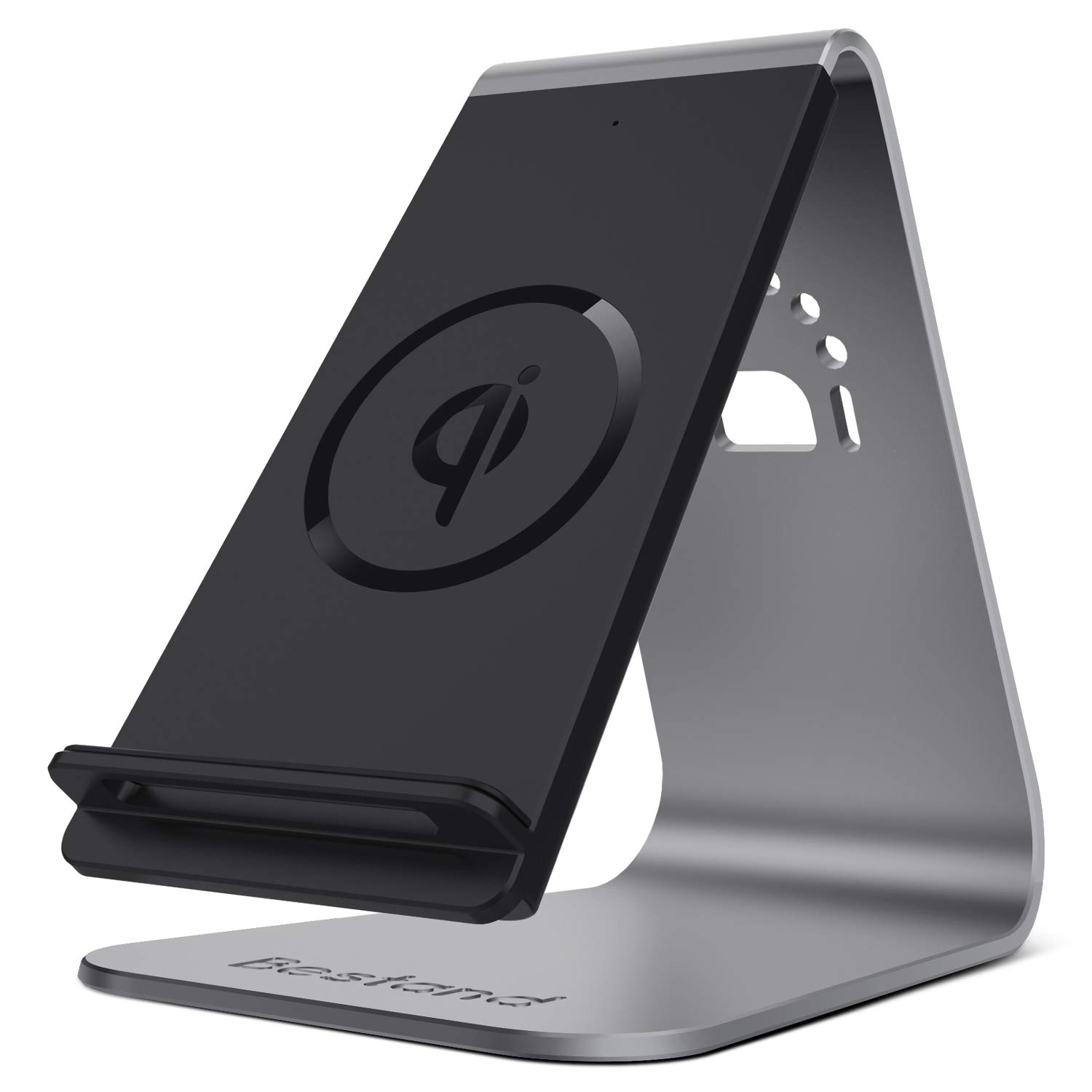 Bestand Qi Wireless Charger, Wireless Charging Stand & Holder Compatible with iPhone XR/XS Max/XS/X / 8/8 Plus, Samsung Galaxy S10/S9/S9+, Grey