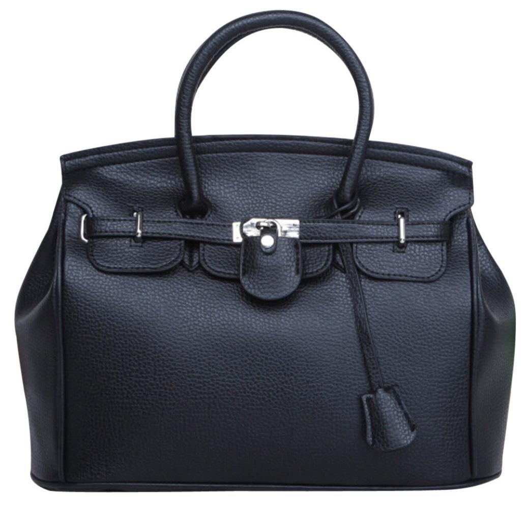 Clearance! Neartime Women Handbags, 2018 Fashion Simple Larger Capacity Leather Shoulder Bag Zipper & Hasp Satchels (37cm(L)×29(H)×16cm(W), Black)