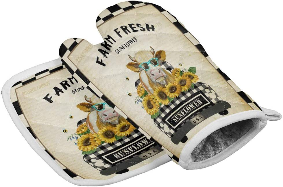 Custom Oven Mitts and Potholders Set of 2, Cow Animal and Sunflowers in Truck American Farm on Vintage Plaid, Kitchen Counter Safe Trivet Mats Heat Resistant Non Slip Surface Oven Gloves for BBQ
