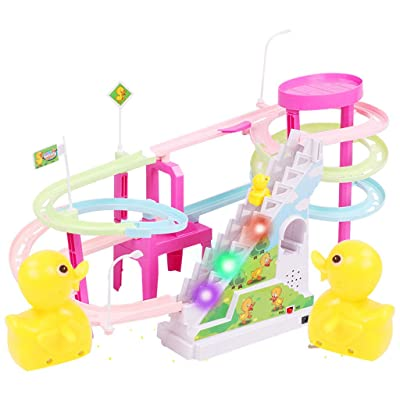 Hongxin Race Track Electric Toy Set, Yellow Ducks Electric LED Light Music Amusement Novelty Electric Climb Stairs Track Toy for Children (Multicolor): Arts, Crafts & Sewing