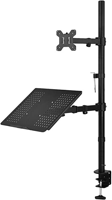 WALI Extra Tall Single LCD Monitor Stand Desk Mount with Laptop Tray for 1 Laptop Notebook and 1 LCD Monitor Mount, Fully Adjustable Fits up to 17 inch Notebook and 27 inch Display (M001XLLP), Black