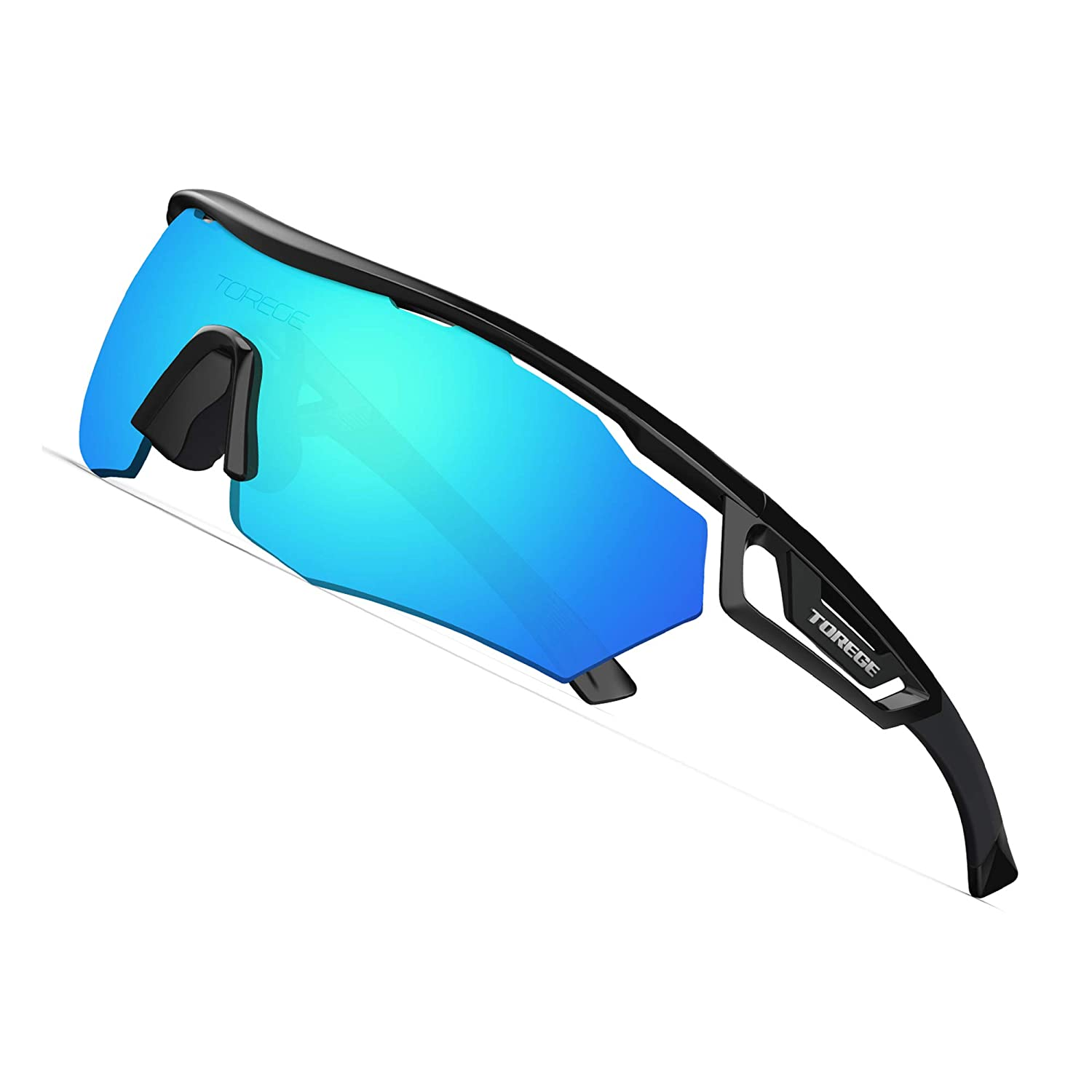 a68a1ae11 Amazon.com : TOREGE Polarized Sports Sunglasses with 3 Interchangeable  Lenes for Men Women Cycling Running Driving Fishing Golf Baseball Glasses  TR05 (Black ...