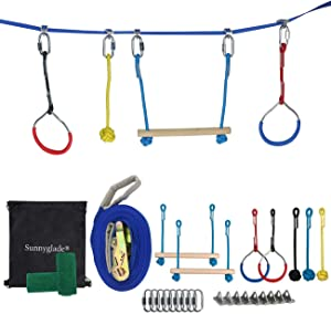 Sunnyglade Outdoor Ninja Line Hanging Obstacle Course/Slackers Backyard Ninja Line Accessories for Kids - 40ft Slackline Kit 2 Monkey Bars, 3 Monkey Fists & 2 Gymnastics Rings