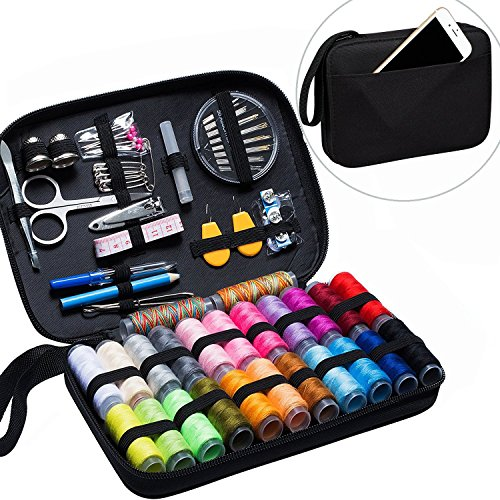 Gold Meier Sewing Kit with Over 90 Premium Sewing Accessories, 24 Color Spools of Thread Sew kits Supplies for Beginner, Traveler, Emergency with Zipper Bag by Gold meier