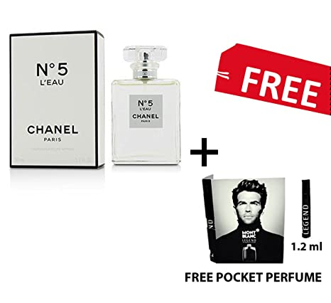 799f236df92 Buy Chanel No 5 L EAU 100 ML (3.4 FL. OZ.) EDT Perfume WITH MONT BLANC  LEGEND 1.2ML POCKET PERFUME FREE Online at Low Prices in India - Amazon.in