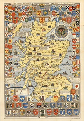 Reproductions Historical Map (Historic Map   Historical Map of Scotland. by L.G. Bullock. John Bartholomew & Son Ltd. Edinburgh, 1950,   Antique Vintage Decor Poster Wall Art Reproduction   24in x 36in)