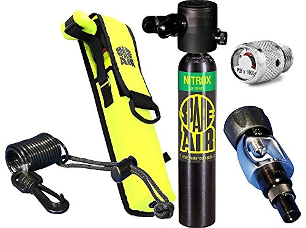 Spare Air New 3.0CF Nitrox Package for Scuba Divers with Dial Gauge Upgrade, Fill Adapter, Holster, Leash by Spare Air